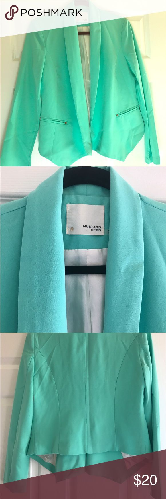Mint Blazer It's the most beautiful mint color I've ever seen, it has full length arms, the pockets are fake, and it has the most gorgeous shape when you put it on. The fabric feels so soft. New without tags. Mustard Seed Jackets & Coats Blazers