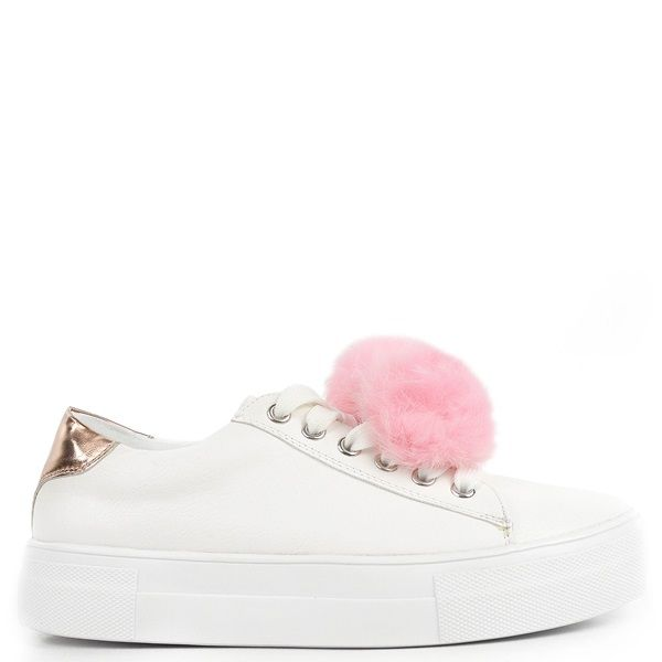 45b8892b706 White sneaker with decorative pink pom pom. Features pink metallic detail  at the back part of the shoe and fastens with laces.