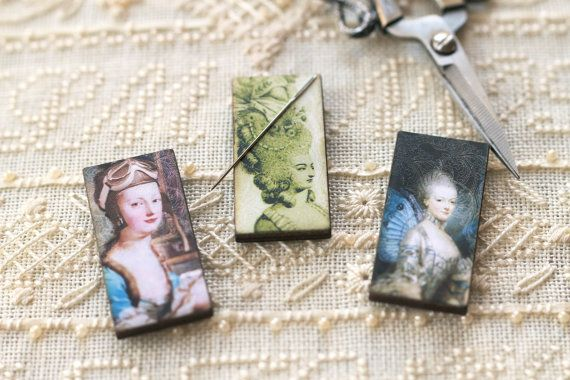 Marie Antoinette Needle Minder : magnet cross stitch hand embroidery tool steampunk Joseph Ducreux France Austria The Cottage Needle by thecottageneedle