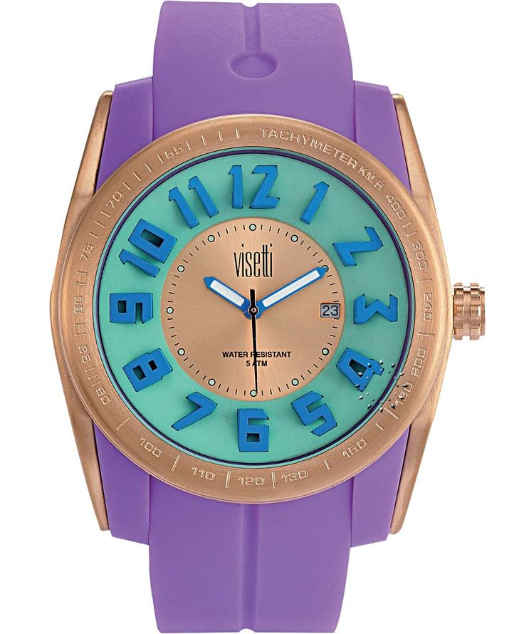 VISETTI Bolero Gold Purple Rubber Strap Μοντέλο: FC-751RP Τιμή: 55€ http://www.oroloi.gr/product_info.php?products_id=39478