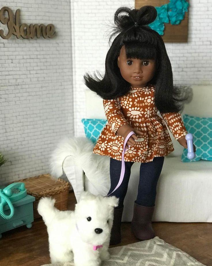 Liz: Come on KoKo lets go for a walk. KoKo: WOOF!  #agig #MelodyElizabeth #Liz #Koko #americangirldoll #dollstagram #agiger #agsofcolor #americangirlpets #dollrooms #dollsofinstagram #nevertoooldfordolls #AmericanGirl #Joy2EveryGirl