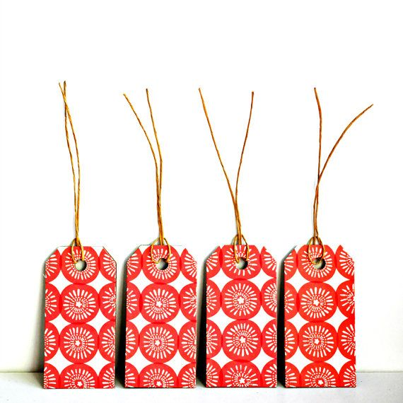 Pattern Gift Tags {10} | Red Gift Tags | Modern Christmas | Holiday Tags | Christmas Tags | Red Parcel Tags | Vintage Style Tags