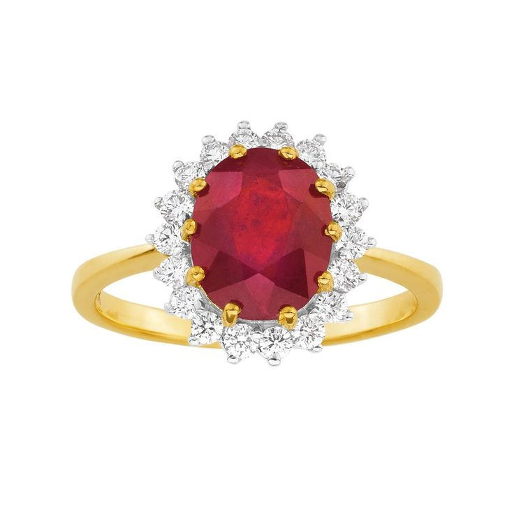 Natural Enhanced Madagascan Ruby and Diamonds 18ct Gold Ring