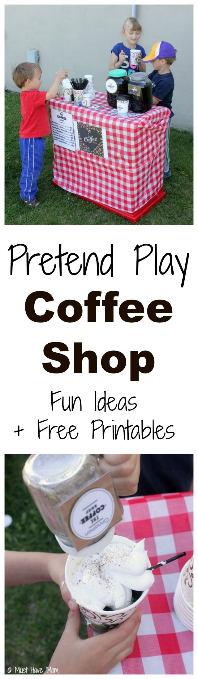 Found on the #HomeMattersParty this week: Pretend Play Coffee Shop Idea with tons of fun ideas for outdoor coffee shop setup and free printables too! Love this kids activities idea that they can play outside!