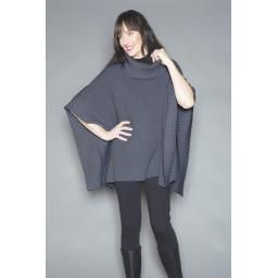"""""""Angie"""" Cape (wear two ways), Charcoal: One size, wool and bamboo so warm and easy to wear!"""