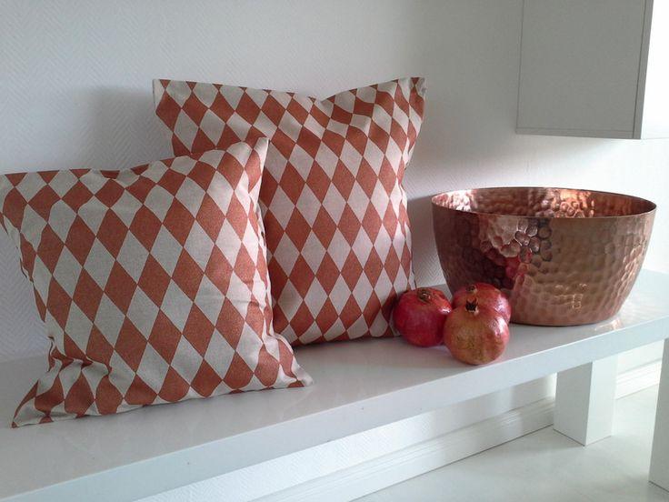 Kissenbezüge - Kissenhülle, kupfer, Rauten,50x50cm - ein Designerstück von primaliese bei DaWanda