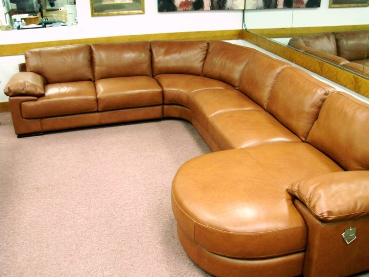 Natuzzi Editions B684 Rust 4 Piece Leather Sectional Butter Soft Padded Arms SectionalsSoft LeatherContemporary FurniturePhiladelphiaRust