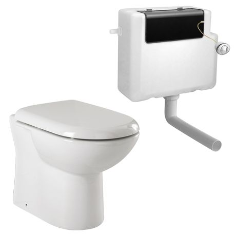 Back To Wall Toilet Pan & D-Shape Soft Close Seat with Concealed Cistern
