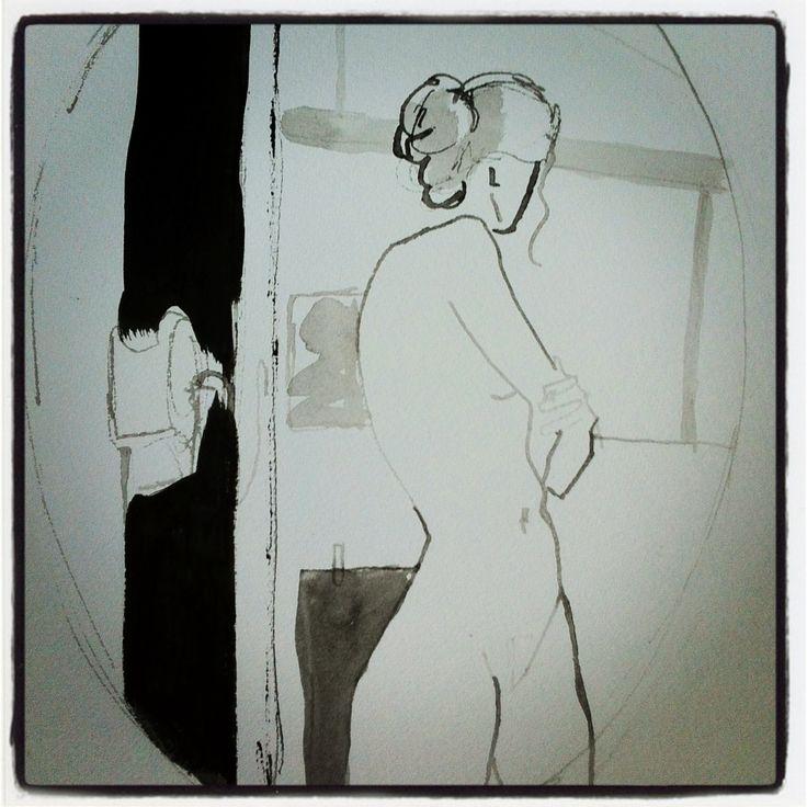 """Nu, Croquis à l'encre """" dans le miroir"""" Nude, ink sketch."""