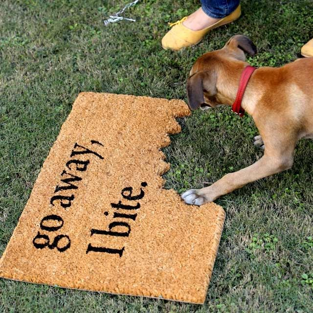 #GoAwayIbite, is a coconut husk Pvc backing #doormat for the ones who love their dogs.