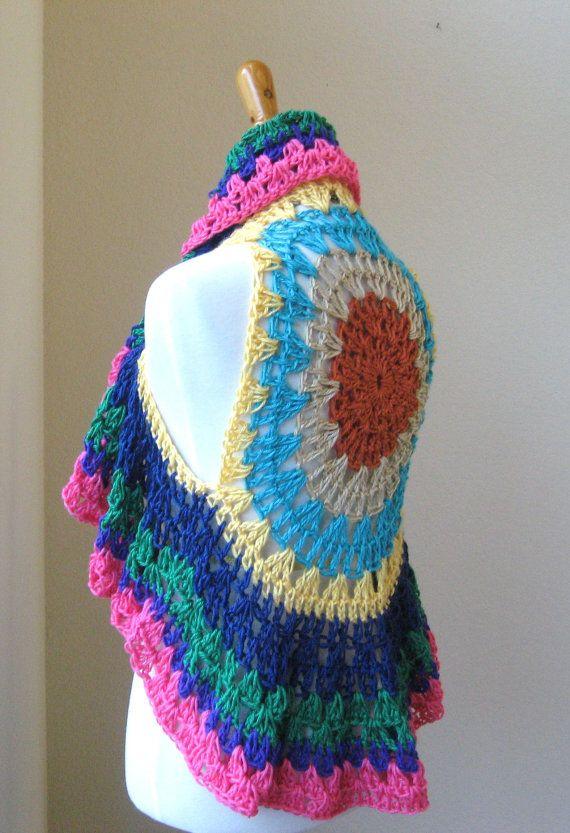 BOHO HIPPIE Crochet VEST  Poncho Multicolor Mandala by marianavail, $50.00