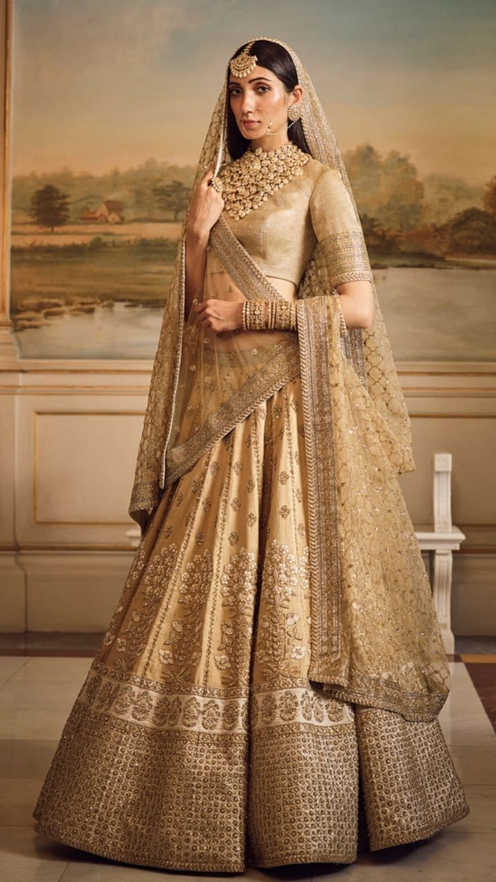 Gold Silk Bridal And Wedding Wear Lehenga