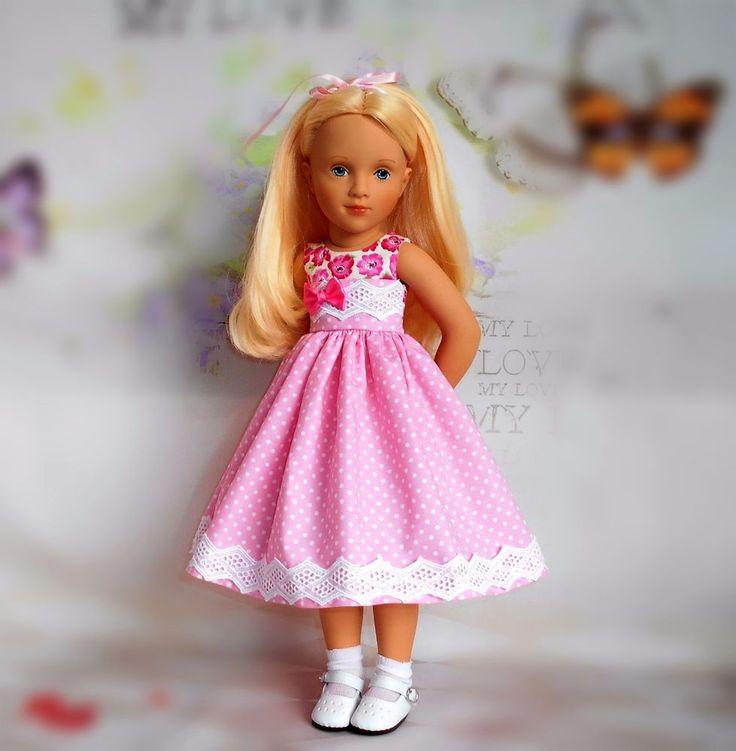 Handmade dress & hair ribbon fits Sylvia Natterer petitcollin Starlette 16  doll