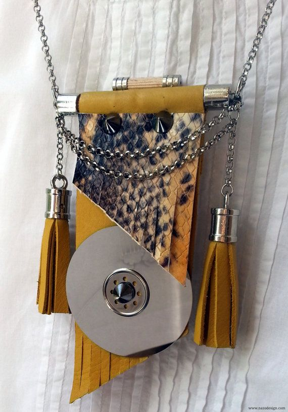 Leather NecklaceHard Disk NecklaceGeometric by NazoDesign on Etsy, $70.00