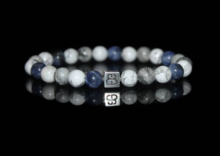 Sodalite, Howlite, and Jasper Bracelet, Bracelet for Man, Sodalite and Sterling Silver Bracelet, Bracelet Man, Men's Silver Bracelet by KartiniStudio on Etsy https://www.etsy.com/listing/505931965/sodalite-howlite-and-jasper-bracelet