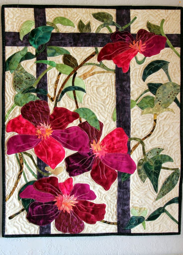 clematis wall hanging by sally papin fiber art quilts pinterest flower wall hangings and. Black Bedroom Furniture Sets. Home Design Ideas