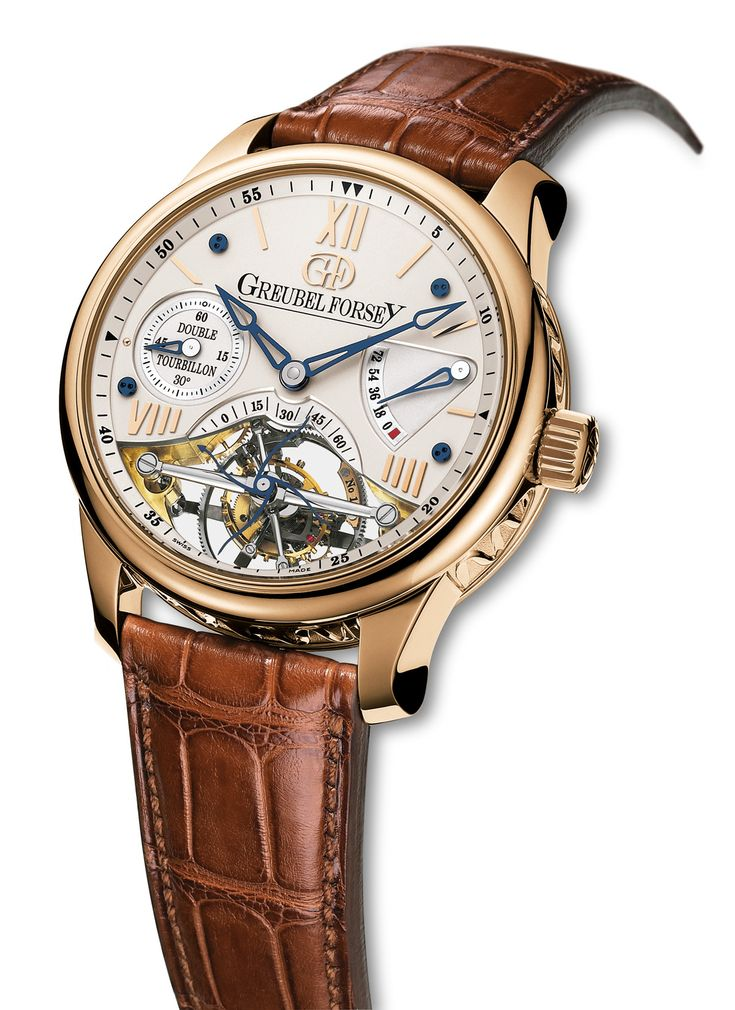 DT30° Vision: 5N red gold case with silvered gold dial. The Double Tourbillon 30° Vision features an open dial allowing the invention to be viewed and appreciated to the full. For more information, please visit: http://www.greubelforsey.com/DT30_vision.asp