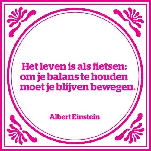 Het leven is als fietsen. Om de balans te houden moet je blijven bewegen... Albert Einstein