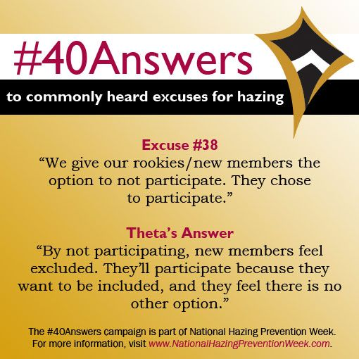#40Answers Campaign, Day 38: By not participating, new members feel excluded. They'll participate because they want to be included, and they feel there is no other option. #NHPW