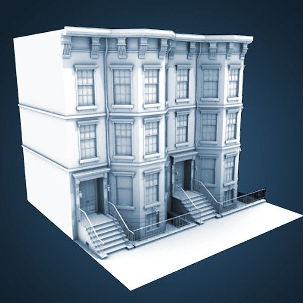 Home Design Ideas Construction: 3d Model Of Architectural Nyc Brownstone
