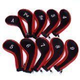 10 Golf Clubs Fer Ensemble à housse de Chef Rouge / Noir - Un jeu de capuchons de fer y compris 3 4 5 6 7 8 9 PW SW A et
