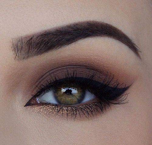 Maquiagem para festas com tons de marrom e dourado