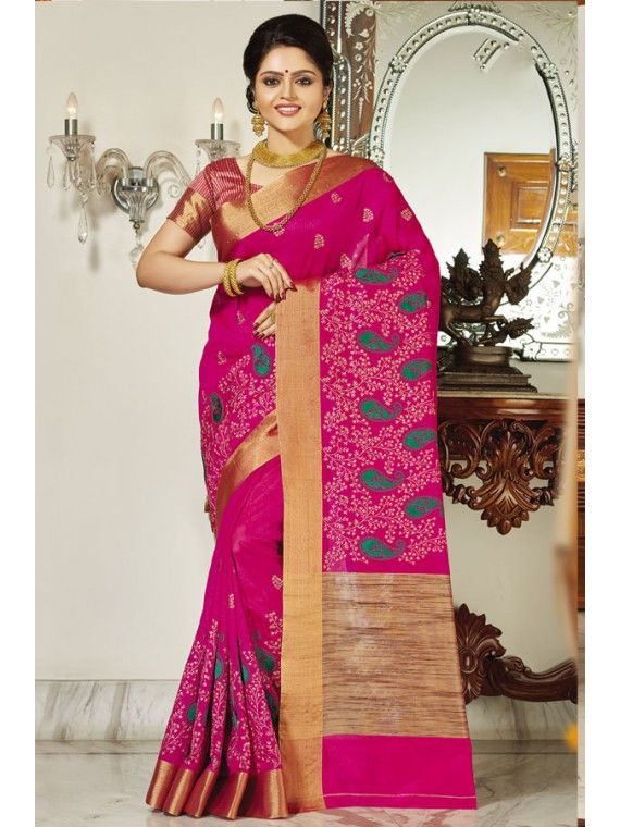 Appealing Pink Embroidered Saree