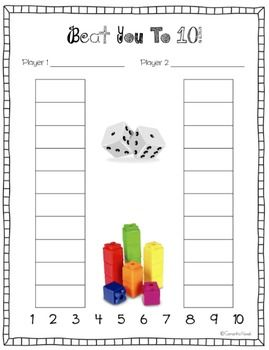 Here's a simple game called Beat You to 10 that focuses on recognition of numbers 1 to 10 as well as one-to-one correspondence.