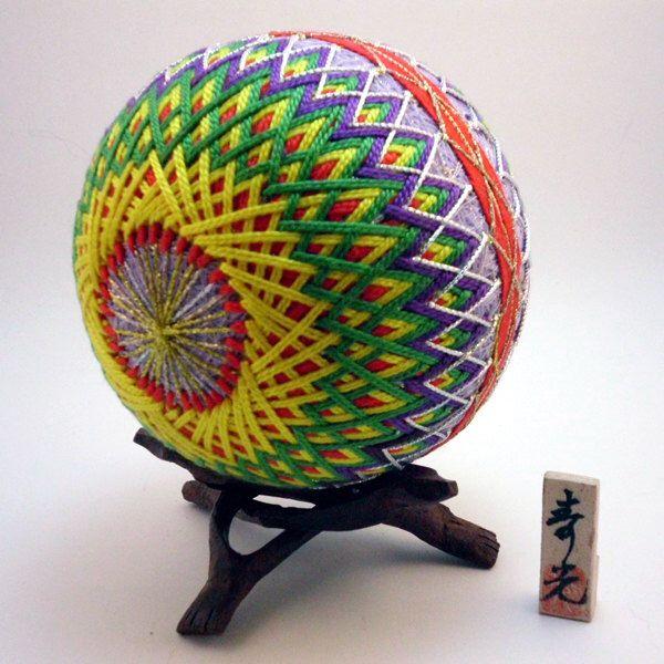 "Japanese Temari Ball - Kujaku (Peacock), Design (4 5/10""). by NavAndFets on Etsy https://www.etsy.com/listing/204238763/japanese-temari-ball-kujaku-peacock"