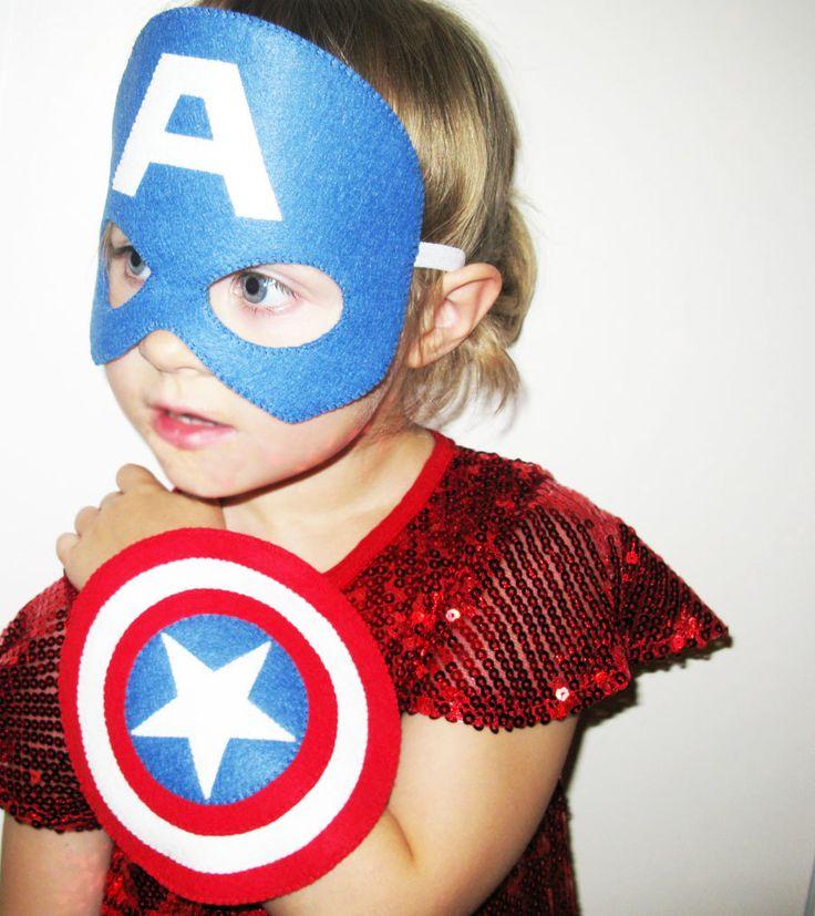 Escudo de Capitán América máscara set traje de superhéroe