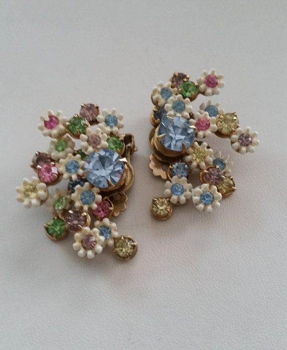Vintage Signed Leru I Love Leru Incredibly Delightful Floral Pearl Bridal Jewelry Costume Jewelry Earrings Gold Costume Jewelry