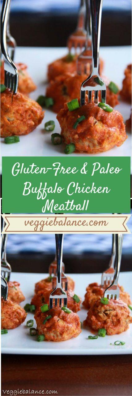 Gluten-Free Buffalo Chicken Meatballs   http://www.VeggieBalance.com/gluten-free-buffalo-chicken-meatballs/