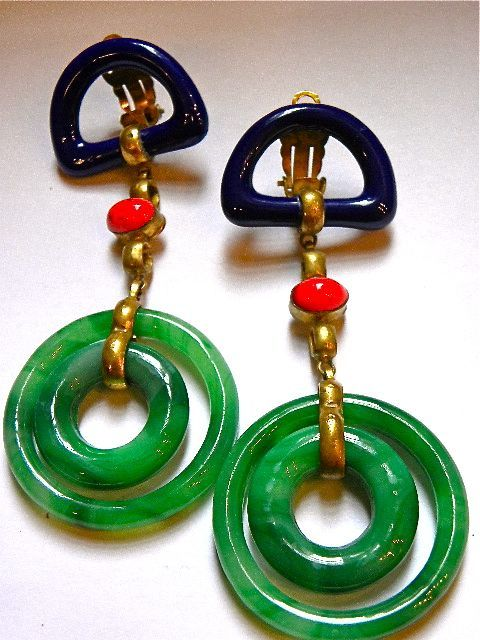 1970s CHANEL Jade earrings  I would be happy to wear these!