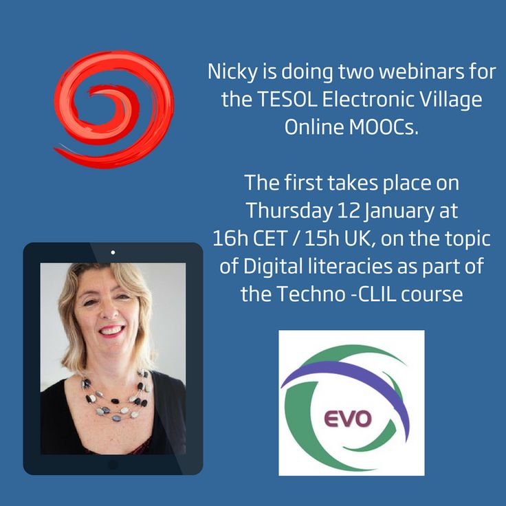 You can attend Nicky's webinar on Digital Literacies by logging in at http://live.wiziq.com/aliveext/LoginToSession.aspx?SessionCode=ibtKiPbZSoc4ebAUzDAbmg%3D%3D