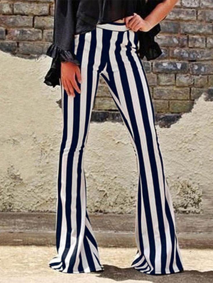 High Waist Stripe Bell-Bottoms Hosen für Frauen