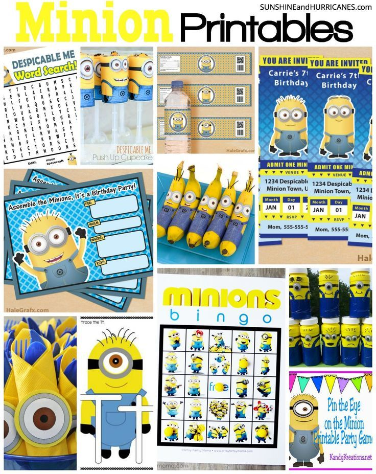 Looking for minion themed printables for a parties, teaching or just everyday fun? In this post you'll find minion birthday party invitations, party decor, games, educational activities, coloring pages and more. Minion Printables. SunshineandHurricanes.com