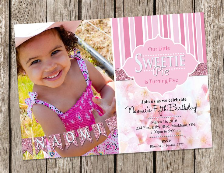 A personal favorite from my Etsy shop https://www.etsy.com/ca/listing/221920809/sweetie-pie-birthday-invite-pink-invite