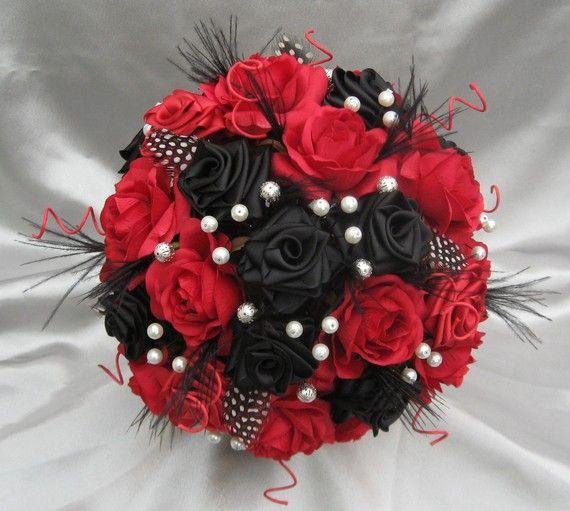Bouquet de mariage rouge et noir