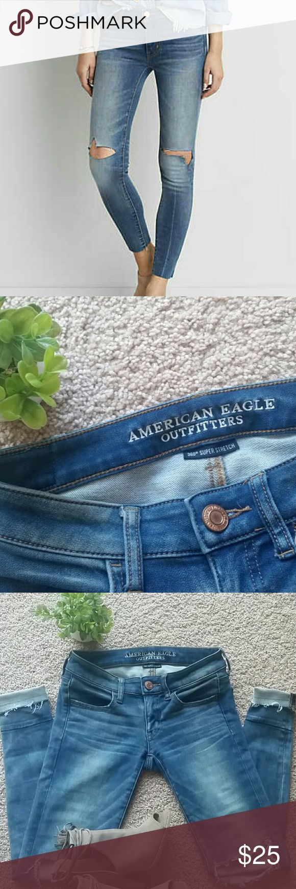 AEO 360 super stretch jegging 360 super stretch jegging, slit knees, and super low waist,  comfy and stylish jeggings. Like mew condition only worn twice. American Eagle Outfitters Pants Skinny