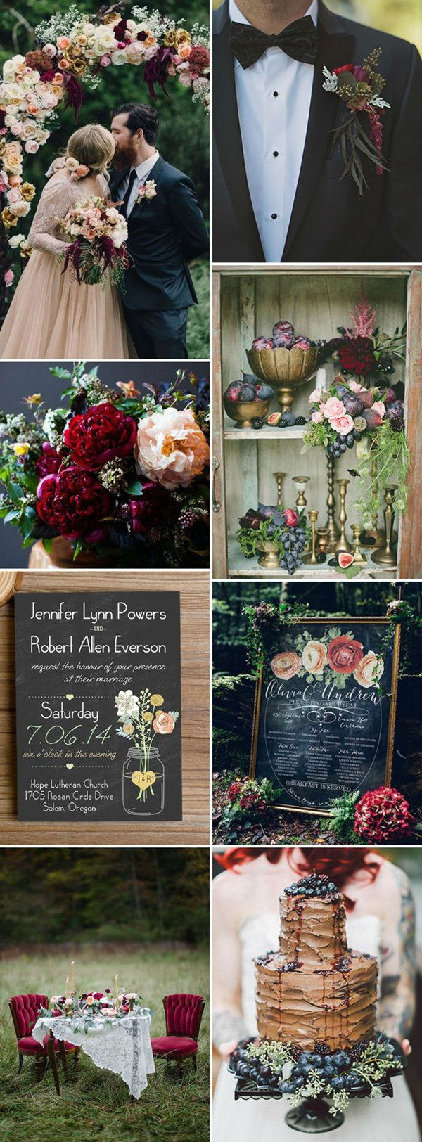 berry red and black inspiration woodland wedding