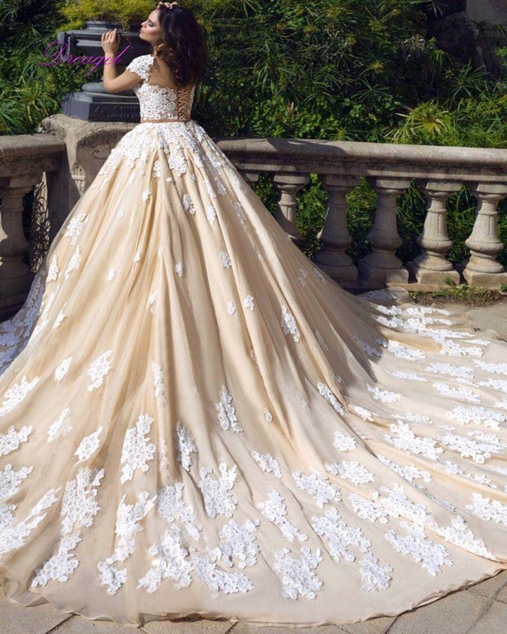 Dreagel New Design Scoop Neck Lace Up A-Line Princess Wedding Dress 2017 Gorgeous Appliques Vintage Chapel Train Robe De Mariage