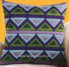 Green & Purple Triangles Long Stitch Cushion Front