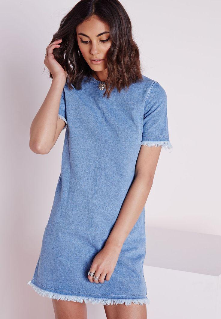Frayed Edge Denim Shift Dress Blue - Dresses - Denim Dresses - Missguided