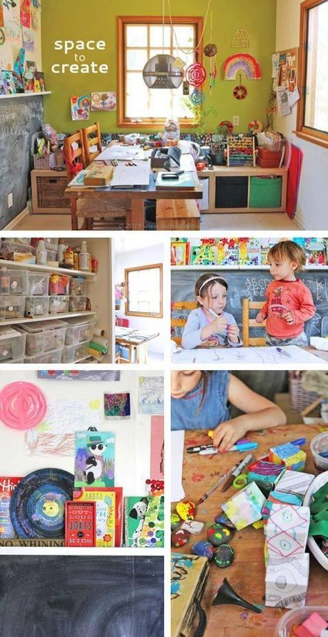 Ideas and resources for creating a home art studio for kids.