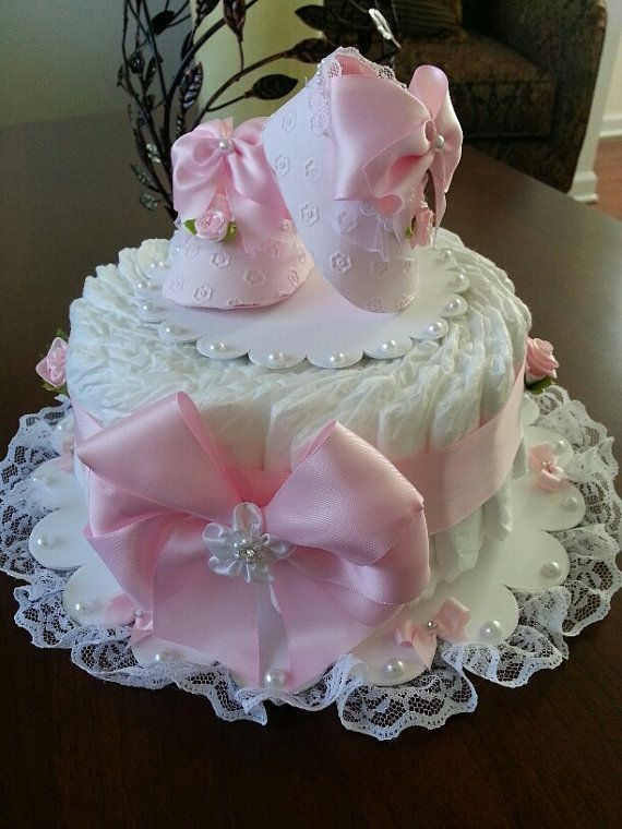 One Tier Pink And White Diaper Cake / Baby Shower Centerpiece / Diaper Cakes / Elegant Diaper Cakes / Baby Shower Gift by joselyn1210