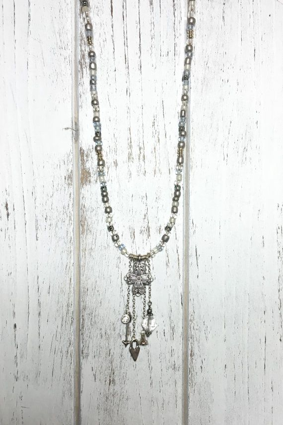 Silver Grey Tone Glass Seed Bead Necklace with by LemonBasket