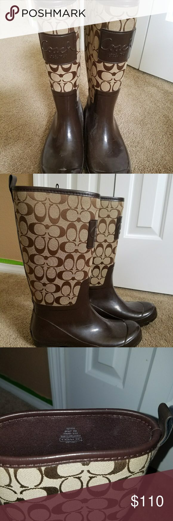 COACH rain boots Brown signature coach rain boots Coach Shoes Winter & Rain Boots