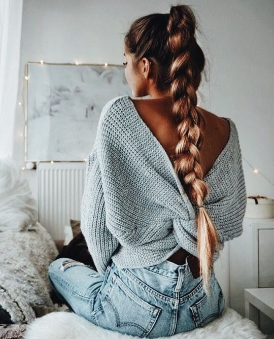 Twist and Shout Grey Sweater #hairbraids
