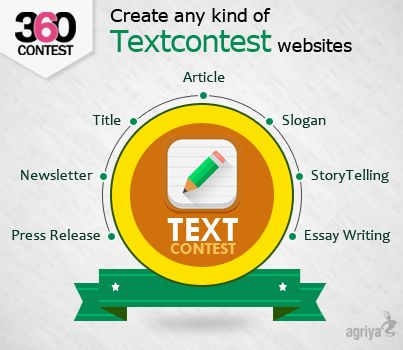 Online world has never seen a design contest business model for #textcontest, this niche is untouched till date. But, not anymore. Agriya's 360Contest is specially tailored #contestscript which can create a #crowdsourcing text contest website within a short span of time.  To know more about 360Contest: http://www.agriya.com/products/contest-software