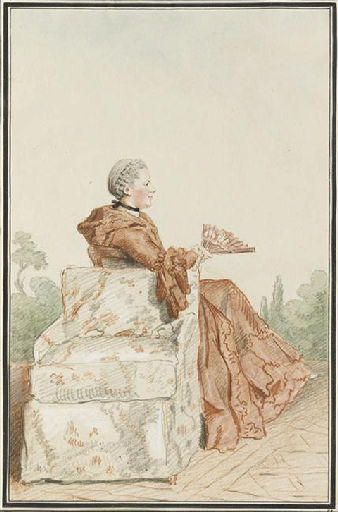 Mme de Lancise by Carmontelle, 1750s or 1760s, Brunswick or Jesuit [Petticoat with self-flounce.]